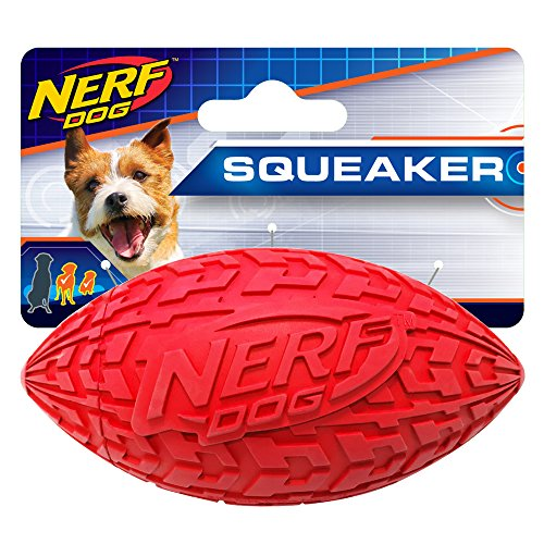 Nerf Dog 4in Tire Squeak Football: Red, Dog - Dog Inch 4 Toys