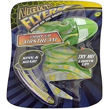 Night Flyers AirStream - Light Up Glow in the Dark AirStream with Soft Rubber grip - Throw from the front like a Football or Spin by the tail