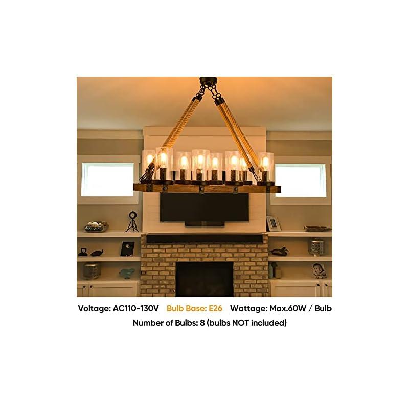 8-Lights Farmhouse Chandelier UL Standard, Rustic Wood Kitchen Island Light Dining Room, Industrial Hanging Ceiling…
