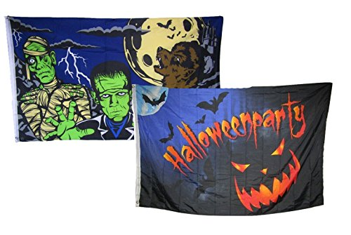 ALBATROS 3 ft x 5 ft Happy Halloween 2 Pack Flag Set Combo #1 Banner Grommets for Home and Parades, Official Party, All Weather Indoors Outdoors ()