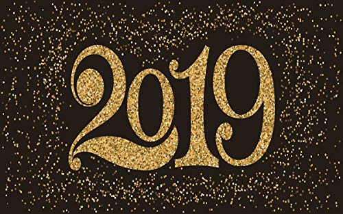 8x5ft 2019 Happy New Year Black Blackboard Gold 2019 Backdrop Decoration Holiday Party Newborn Child Family Portrait Photo Studio Props BoTong_snow020-8x5FT ()
