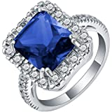 18K White Gold Filled Gemstone Silver Wedding Band Ring Jewelry Gift Size 7-10 ERAWAN (8 #, Dark Blue)