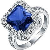 18K White Gold Filled Gemstone Silver Wedding Band Ring Jewelry Gift Size 7-10 ERAWAN (8 #, Dark Blue)