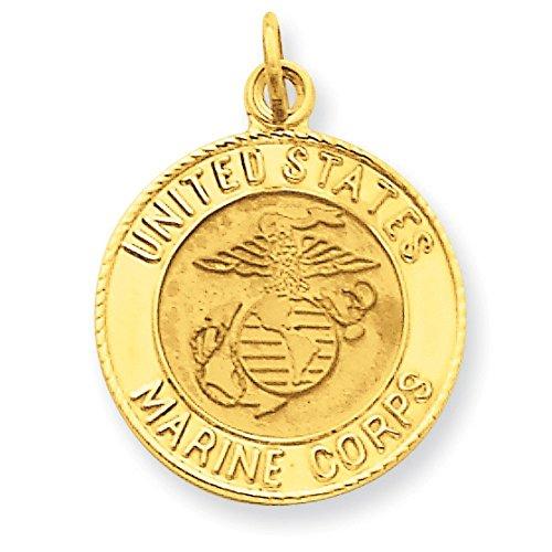 US Blason Marine Corps Coloris Insignia 14 Carats Pendentif Disque-Dimensions :  23,2 x 17,5 mm-JewelryWeb