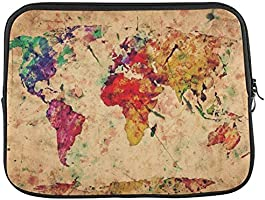 "InterestPrint Vintage Retro Watercolor World Map 11"" 11.6"" Inch Laptop Sleeve Bag for Lenovo, Dell Inspiron, Vostro,..."