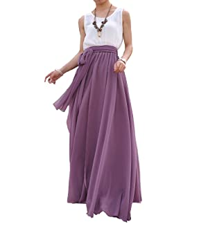 Melansay Beatiful Bow Tie Summer Beach Chiffon High Waist Maxi Skirt L,Orchid