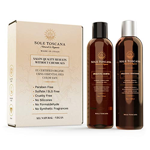 Sole Toscana Certified Organic Shampoo and Conditioner Set - Sulfate and Paraben Free - All Natural, Color Safe, and Gentle on Curly Hair - Seed to Skin (2x 8.45 Fl Oz / 250ml) (Best Certified Organic Shampoo)