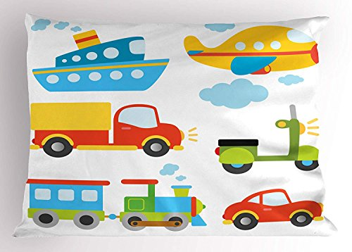 SPXUBZ Boy'S Abstract Transportation Types For Toddlers Car Ship Truck Scooter Train Aeroplane Rectangular Decorative Home Decor Square Indoor Pillowcase Size: 12x20 Inch(Two Sides)