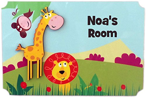 (Rikki Knight Noa's Room - 3D Giraffe on Jungle - Door Sign Plaque with Name for Children and Baby's Bedroom)