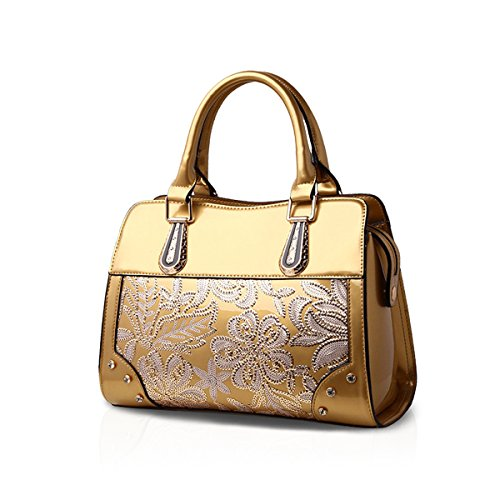 Women Waterproof Leather Nicole Handbags Pattern amp;Doris Patent Tote Floral Gold P45qHnRwqx