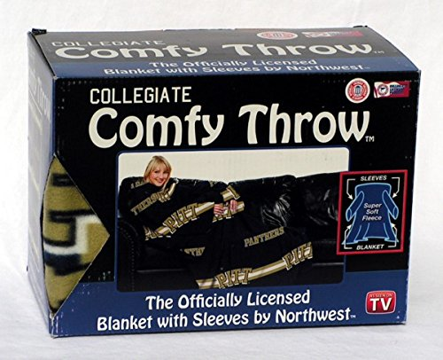 NCAA Pittsburgh Panthers Comfy Throw Blanket with Sleeves, Stripes Design