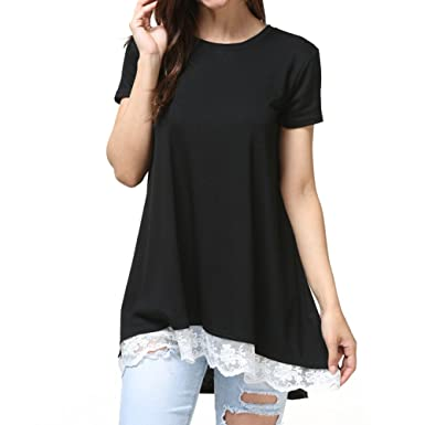 244151da386e CNMUDONSI Womens Lace Short Sleeve Casual Tunic Tops Loose Shirt Blouse  (GD003Black-S)