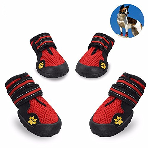 Skid Dog Boots (maxgoods Dog Boots Waterproof Pet Mesh Shoes, Breathable Dog Shoes Paw Protectors with Reflective Velcro and Rugged Anti-Slip Sole (4, Red))