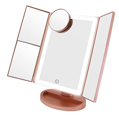 Makeup Vanity Mirror with Lights, 3 Color Lighting 72 LED COSMIRROR Trifold Lighted Makeup Mirror, 1X 2X 3X 10X Magnification and Touch Screen, High Definition Light Up Mirror Rose gold