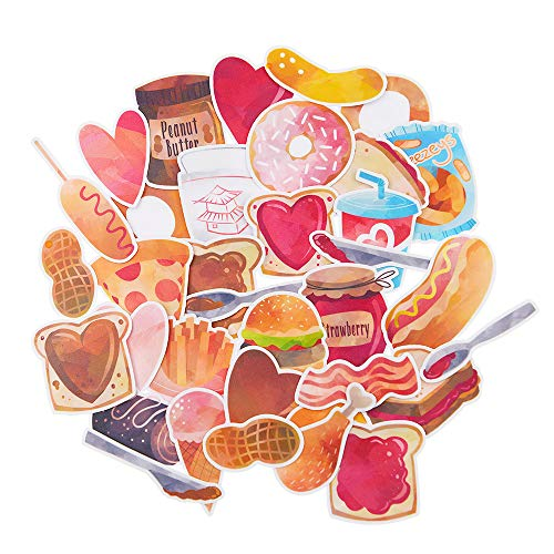 Yummy Bun Waterproof Laptop Stickers Funny Snack Foodie for Water Bottles, Teen Girls, Women, Easily Remove No Residue, Holiday Fast Food Decals for Scrapbook, Journal, Planner-35pcs