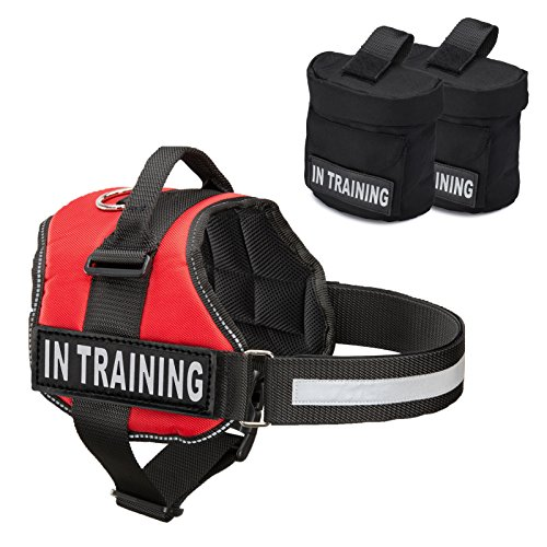 - Service Dog in Training Vest Harness with 2 Removable Saddle Bags with Patches, Backpack w/ IN TRAINING Patches, Medium or Large Dog Vests for Service Dog, Attach Service Dog Vest Harness Patch or Tag