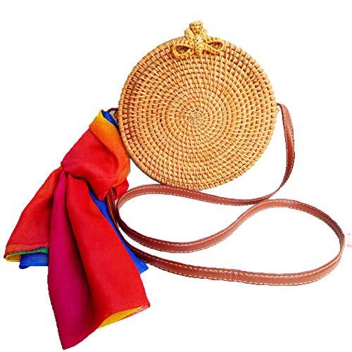 Baellerry Round Woven Ata Rattan Bag Summer Beach Shoulder Bag for Women (U1) ()