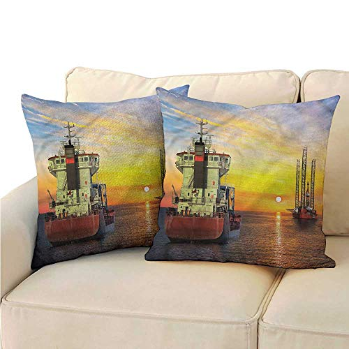 Ford Oil Tanker - RuppertTextile Nautical Living Room Sofa Hug Pillowcase Tanker Ship Oil Platform Cushion W13 x L13