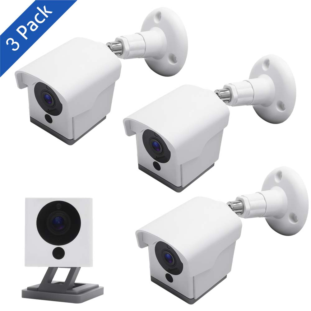 Wyze Cam Outdoor Mount, Upgraded Weatherproof Wall Mount for Wyze Cam 1080p HD Camera, Weather Proof 360 Degree Protective Adjustable Blink Mounting Bracket(White 3 Pack) by Voyaux