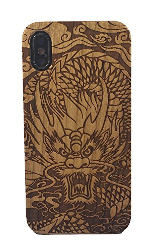 iPhone X Case, Genuine Cherry Wood Hard Shell Case with Laser Engraved Chinese Dragon for iPhone X (GMPC-IPX-01) -