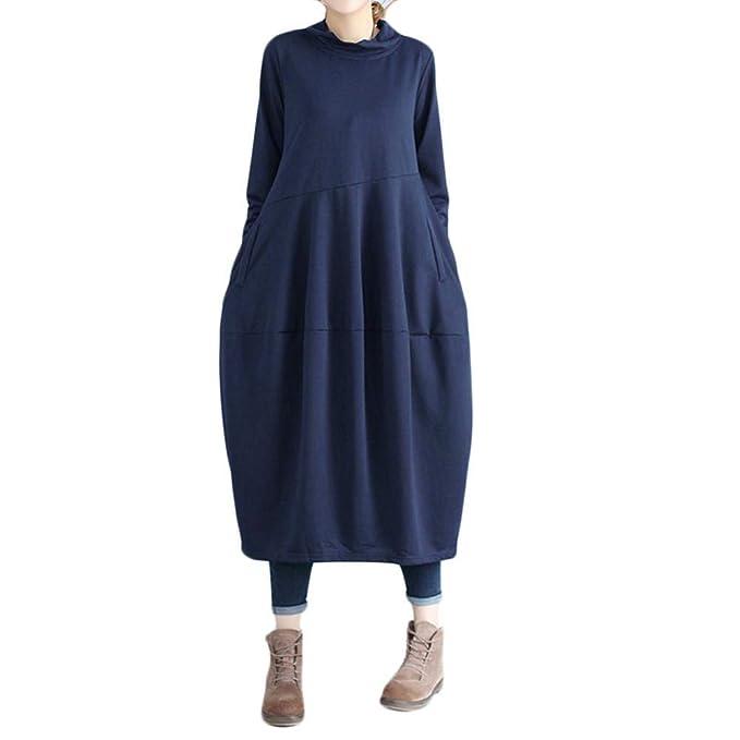 Vestidos Largos De Mujer Casuales,Moda Largo Mangas O-Cuello Diario Cómodo Holgados Faldas