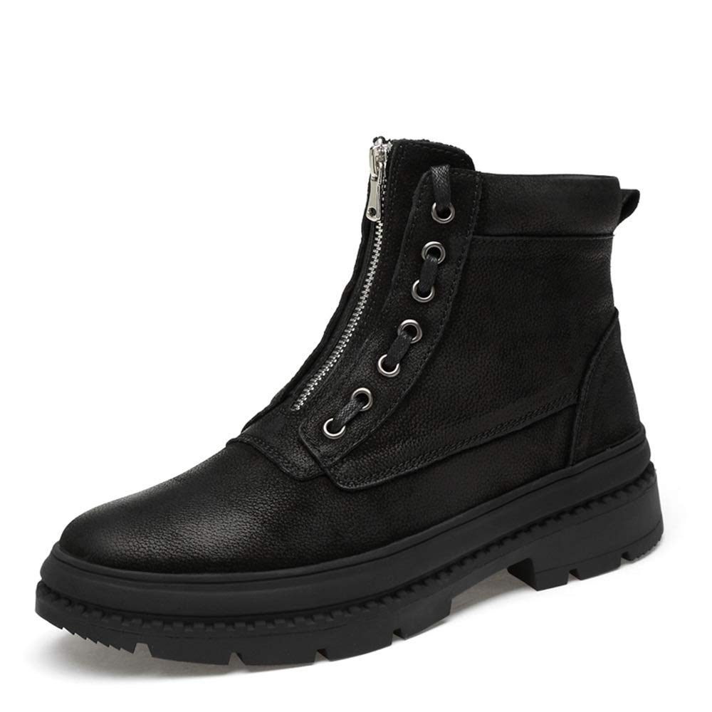 Hilotu Men's Work Boots Casual Personality Slip Zipper Fleece Lined High Top Motorcycle Boots (Color : Black, Size : 9 D(M) US)