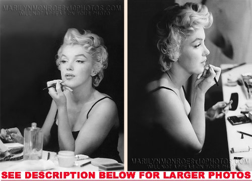 MARILYN MONROE IN PRE SHOW MAKEUP CHAIR (2) RARE 8x10 FINE ART PHOTOS