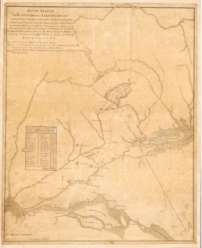 1780 Map Rough sketch of the country from Lake Champlain and the River Sorell extending to the eastward as far as the River St. Francois and the Cohos on the - Locator Store Country Style