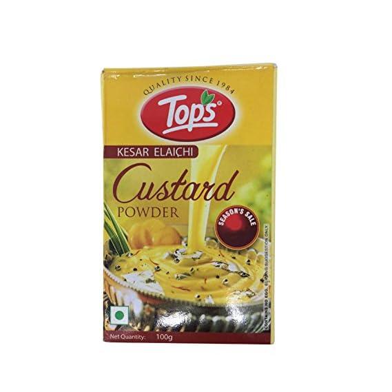 Tops Custard Powder - Kesar Elaichi, 100g Box