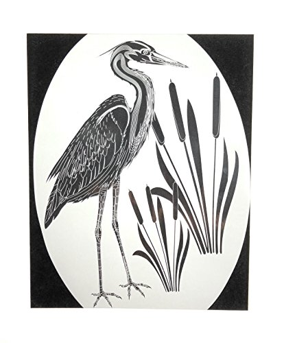 (DCentral Egret and Cattails Removable Window Decal. Look of Clear Etched Glass.Left Facing When Mounted. 8