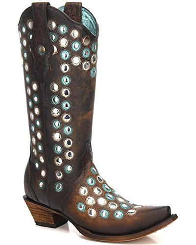 CORRAL Womens Studded Embroidered Cowgirl Boot Snip Toe - C3343 Brown Wkm8QgrK