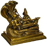 AapnoCraft Hindu God Vishnu Statue Brass Relaxing Vishnu Idols With Goddess Laxmi Sculpture On Sheshnag - Diety Ranganathan Figurine