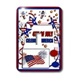 3dRose Lsp_20170_1 4Th Of July Celebrate America Flag Stars and Firecrackers Single Toggle Switch