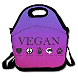 vegan lunch box - ANIMAL RIGHTS Vegan Vegetarian Purple Lunch Bags Insulated Travel Picnic Lunchbox Tote Handbag With Shoulder Strap For Women Teens Girls Kids Adults