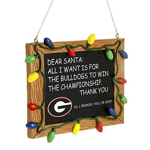 Ncaa Ornaments (Georgia Bulldogs Official NCAA 3 inch x 4 inch Chalkboard Sign Christmas Ornament)