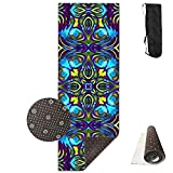 Color Psychedelic Geometry,Eco-Friendly Non-Slip Yoga Mat Thick Pro Exercise and Pilates Mat with A Yoga Bag Waterproof Yoga Mats Fitness