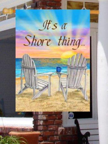Shore Thing Sunrise Beach Adirondack Chairs Large Flag [Kitchen]