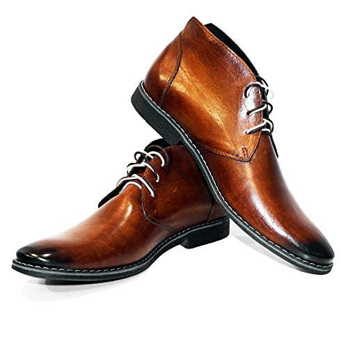 Lace Brown Ankle Cowhide Boots Italian Hand Buqe Mens Modello Leather Handmade PeppeShoes Leather up Chukka Painted xYCqw60F