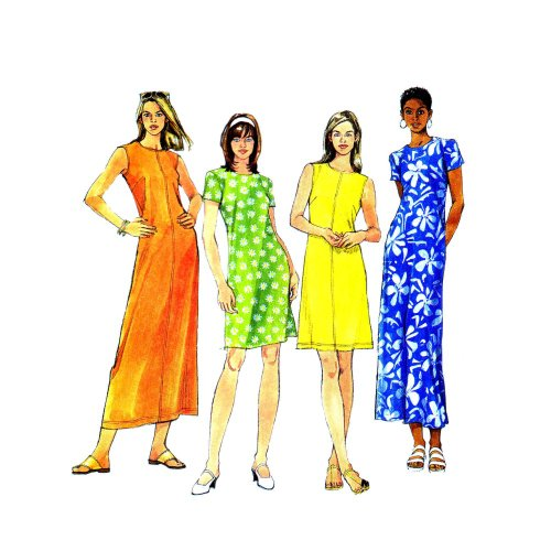 1990s Misses Semi Fitted Dress McCalls 8730 Sewing Pattern Size 8 - 10 - 12