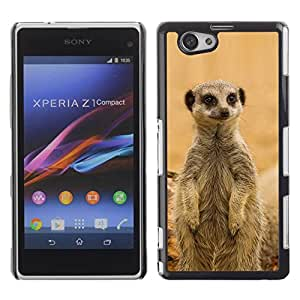 PC/Aluminum Funda Carcasa protectora para Sony Xperia Z1 Compact D5503 Cute Meercat / JUSTGO PHONE PROTECTOR