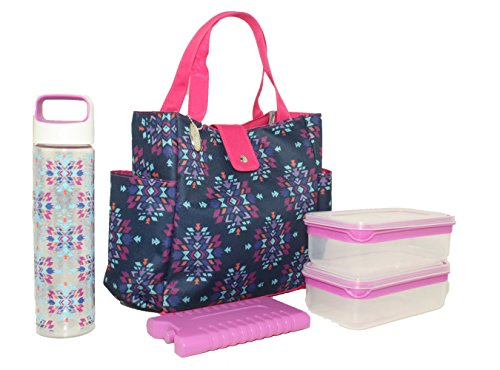 Silver One Durable & Reusable Premium Insulated Heavy Duty Tote Lunch Bag Set for Pinic/Beach |Includes 2 Food Storage Containers, 1 Ice Pack, 1 Plastic Water Bottle | Button Snap Closure By Eco One