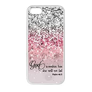 Generic God Is Within Her, She Will Not Fail Psalm 46:5 - Bible Verse Pink Sparkles Glitter Design TPU Rubber Case for Iphone 5 5s
