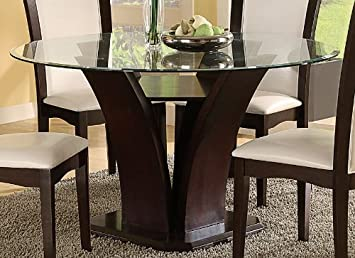 Amazon.com: Daisy Round Glass Top Dining Table in Espresso by ...