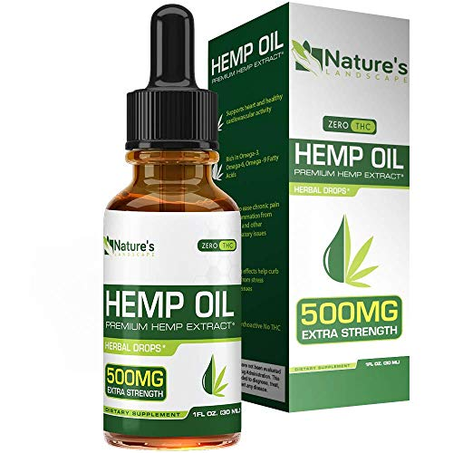 Hemp Oil for Pain Relief 500mg - Stress Support, Anti Anxiety, Sleep Supplements - Herbal Drops - Rich in MCT Fatty Acids - Natu