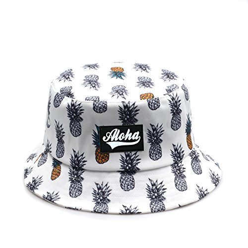 Leather Bucket Hat - Hatphile Trendy Bucket Hat Pineapple Hawaii Faux Leather Aloha