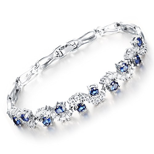 Feraco Women Crystal Blue Sapphire Bracelet Cubic Zirconia Tennis Bangle Jewelry for Anniversary, 7.28inch