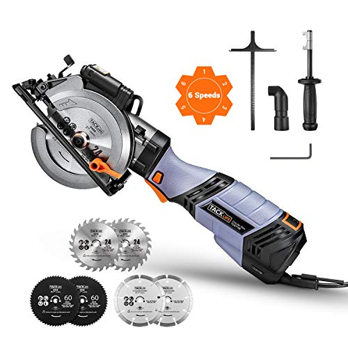 Circular Saw, TACKLIFE Premium Mini Circular Saw with 6 Variable Speed, 6 Blades(5″ & 4-1/2″), Unique Metal Handle, 6.2A Pure Copper Motor, Laser Guide, 10Feet Cord- TCS115E