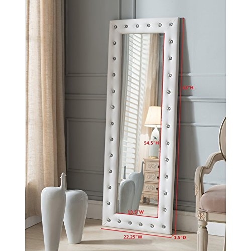 Full Length Mirror With Faux Leather Tufted Crystal Buttons Frame, Leaning Floor Modern Mirror - 63'' x 22'' (White)