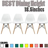 2xhome Set of 4 White Mid Country Modern Chair Molded Shell Designer Assemble Plastic Chair Side No Arms Wheels Armless Chairs Natural Wood Wooden Eiffel Dining Room Bedroom Kitchen Accent Office DSW
