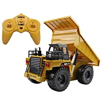 Hugine6 Channel Alloy RC Dump Truck 2.4Ghz Full Function Remote Control Construction Vehicle Dump Truck With LED Turn Signals And Sound